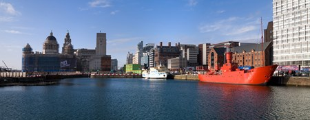 Pier head and Canning Dock, Liverpool Merseyside.