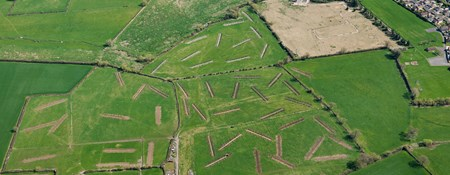 An aerial photograph of 48 trial archaeological trenches in green fields, with housing to the right of the site.