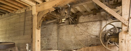Interior view of Grade II* listed Kersey Mill, Suffolk