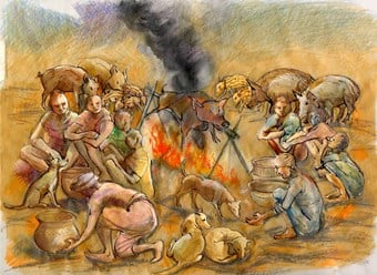 Reconstruction art showing a group of people and livestock around a fire.