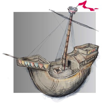 Reconstruction art showing Henry V's warship the Holigost.