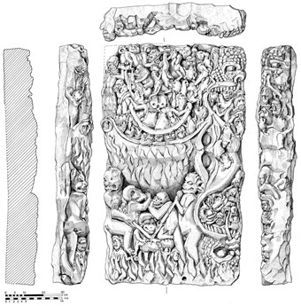 An example of Archaeological illustration: the York Minster Doomstone, with scenes depicting demons tormenting the souls of the damned.