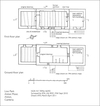 An example of an analytical site drawing: plan of a building at Low Park, Alston Moor, Cumbria.