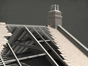 A roof of a historic building illustrated for a Survey of London project using 3D modelling.