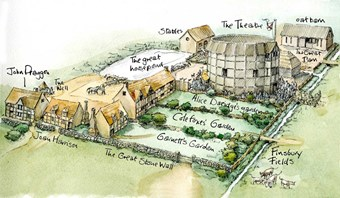 Reconstruction art showing the Elizabethan Theatre in Hackney where it is thought Hamlet was first performed.