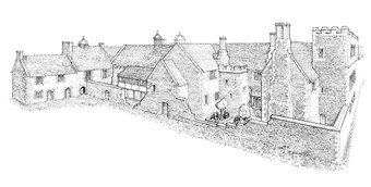 Technical reconstruction drawing showing Apethorpe Palace
