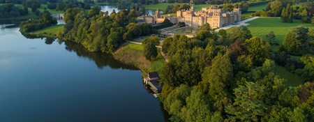 Aerial view of Blenheim Palace and gardens, Woodstock, Oxfordshire