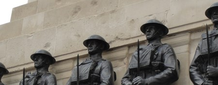 Statues of five guardsmen on the Guards Memorial by Horse Guards Parade, Westminster. It was unveiled in 1926 and commemorates the 14,000 Guardsmen who died in the First World War.
