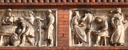 Detail from the exterior of of the Wedgwood Institute in Burslem, Stoke-on-Trent