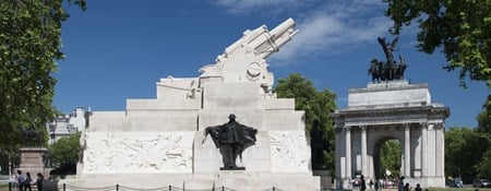 Royal Artillery Memorial against a blue sky, Hyde Park Corner, London.