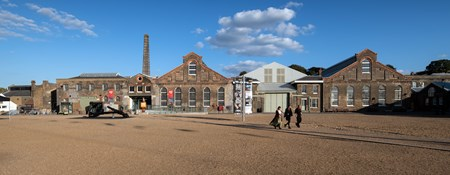 View of a group of buildings at Chatham Dockyards.